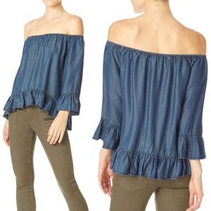 SANCTUARY Julia chambray blue ruffle top